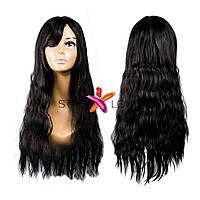 Волнистый черный парик с челкой, фото 1