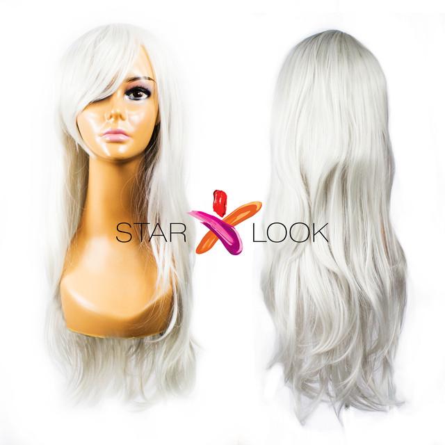 Парик с длинными искусственными волосами серый