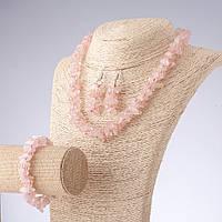 Комплект украшений Розовый кварц чешский хрусталь бусы 45см серьги 6см браслет 20см