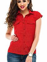 Блуза женская, штапель, короткий рукав