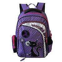 Рюкзак для девочки Black Cat, Winner Stile (черно-розовый, сиреневый, розовый)