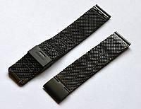 Браслет к любым часам Плетеный - черный анодированный
