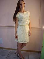 Платье гипюровое нежно-желтое короткий рукав