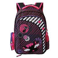Рюкзак для девочки Sweet Cat, Winner Stile (черно-розовый, сиреневый, розовый)
