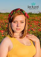 Яскравий вінок на голову з квітами та бусинами ручна робота