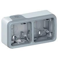 Коробка для накладного монтажа 2-постовая, горизонтальная IР55, IК07 Legrand Plexo Серый (069672)