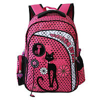 Рюкзак для девочки Preaty Cat, Winner Stile (черно-розовый, сиреневый, розовый)