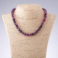 Бусы Агат фиолетовые тона гладкий шарик  d-10мм L-42см
