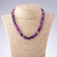 Бусы Агат фиолетовые тона прямоугольник  d-10*14мм L-44см