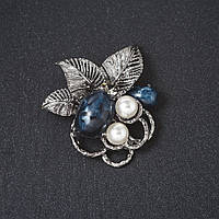 "Брошь  ""Голубика"" цвет металла ""серебро""  4,5см"