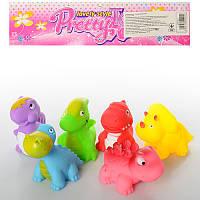 Игрушки для купания пищалки Динозавры 801, 7см, 6шт в кульке, 22-20-5,5см
