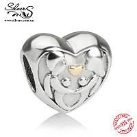 """Серебряная подвеска-шармПандора (Pandora) """"Любовная пара"""" для браслета"""