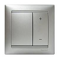 Светорегулятор кнопочный 40-600Вт Legrand Valena Алюминий (770274)