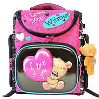 Школьный ранец для девочки с мягкой игрушкой, Winner Stile, розовый