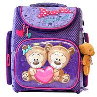 Школьный ранец для девочки с мягкой игрушкой, Winner Stile, сиреневый