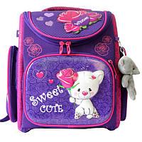 Школьный ранец для девочки с брелком мишка, Winner Stile, сиреневый