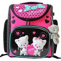 Школьный ранец для девочки с брелком мишка, Winner Stile, розовый