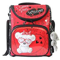 Школьный ранец для девочки с брелком мишка, Winner Stile, красный