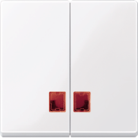 Клавиши с красным прямоугольным и окном для индикации Merten Активно-Белый (MTN3456-0325)