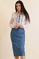 Костюм-двойка, белая рубашка на шнуровке и зауженная юбка с широким поясом и карманами, 42-52 размеры 42