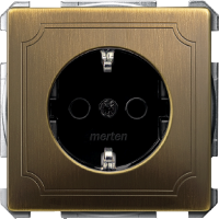 Механизм розетки с заземляющими контактами Merten Schuko Антрацит Латунь (MTN2300-4143)