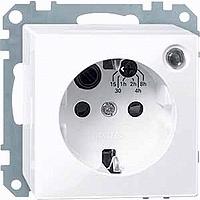 Механизм розетки с таймером и заглушками с заземлением Merten Schuko Активно-Белый (MTN501125)