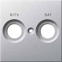 Накладка антенной розетки двопостовая R/TV+SAT Merten Алюминий (MTN299260)