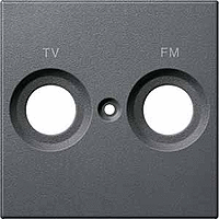 Накладка антенной розетки двопостовая TV+FM Merten Антрацит (MTN299514)