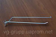 Крючок одинарный с ценникодержателем для перфорации хромированный. Торговое оборудование из проволоки