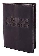 """Обкладинка для паспорта VIP (антик темний шоколад) тиснення """"ПАСПОРТ&PASSPORT"""""""