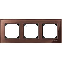 Рамка стеклянная 3-постовая Merten Elegance Махагон (MTN4030-3215)