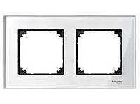 Рамка стеклянная 2-постовая Merten M-Elegance Белый-Бриллиант (MTN404219)