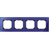 Рамка стеклянная 4-постовая Merten M-Elegance Сапфир (MTN4040-3278)