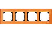 Рамка стеклянная 4-постовая Merten M-Elegance Оранжевый Кальценит (MTN404402)
