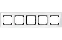 Рамка стеклянная 5-постовая Merten M-Elegance Белый Бриллиант (MTN404519)