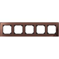 Рамка стеклянная 5-постовая Merten M-Elegance Махагон (MTN4050-3215)