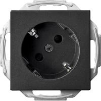 Розетка SCHUKO под 45° с заземлением Merten Антрацит (MTN2370-0414)