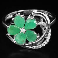 """Хорошенький серебряный перстень с изумрудами """"Ромашка"""", размер 17,5 от студии LadyStyle.Biz, фото 1"""