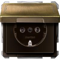 Розетка SCHUKO с крышкой IP44 Merten Антрацит Латнунь (MTN2311-4143)
