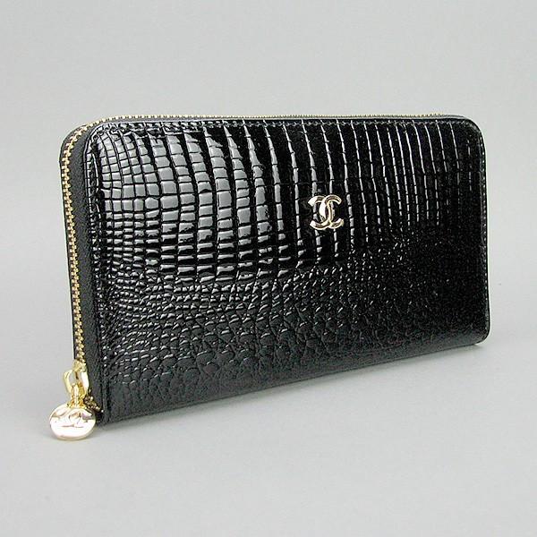 Кошелек кожаный женский на молнии черный 9046