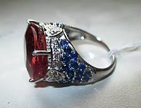 """Крупный перстень с султанитом и сапфирами  """"Радужный"""", размер 17 от студии LadyStyle.Biz"""
