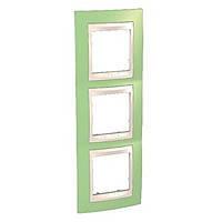 Рамка вертикальная 3 поста Schneider Electric Unica Plus Зеленое яблоко/Слоновая кость (MGU6.006V.563)