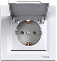 Розетка с защитной крышкой и шторками Schneider Electric Asfora Белая (EPH3100321)