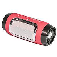 Портативная стерео колонка Lesko BL C65 красная беспроводная bluetooth с микрофоном USB AUX FM-радио microSD
