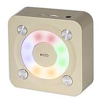 Компактная bluetooth колонка BL NIGIN A9 золотистая беспроводная с микрофоном подсветкой AUX USB карта памяти