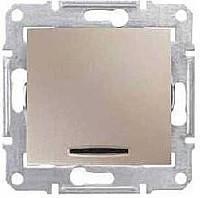 """Выключатель - кнопка с """"синей"""" подсветкой Schneider Electric Sedna Титан (SDN1600168)"""