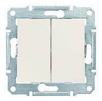 Выключатель двухклавишный проходной Schneider Electric Sedna Слоновая Кость (sdn0600123)
