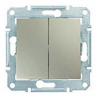 Выключатель двухклавишный проходной Schneider Electric Sedna Титан (sdn0600168)