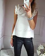 Женская блузка Шифоновая рукав жабо белая