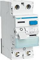 "Дифференциальное реле 2-полюса 16 Ампер, ток утечки 10mA, Тип — ""А"" Hager (CC216J)"